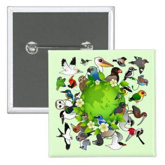Birdorable Earth Day 15 Cm Square Badge