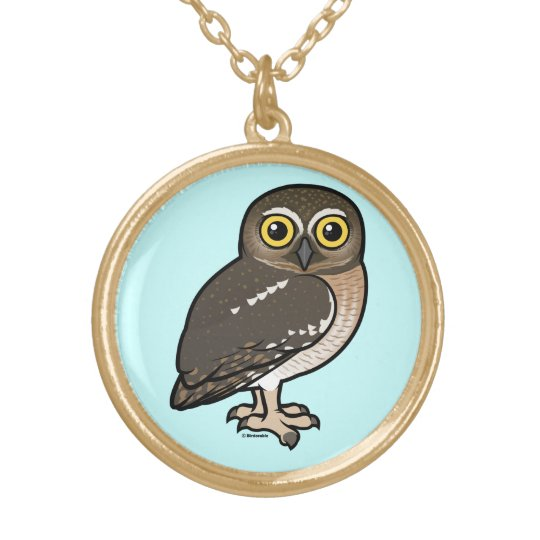 Birdorable Elf Owl Gold Plated Necklace