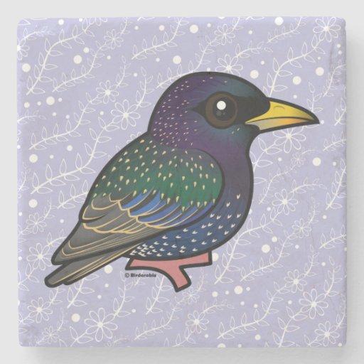 Birdorable European Starling Stone Beverage Coaster