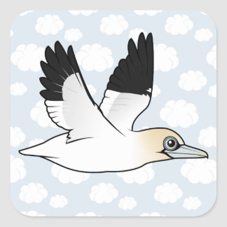 Birdorable Flying Northern Gannet Square Sticker