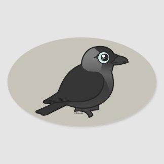 Birdorable Jackdaw Oval Sticker