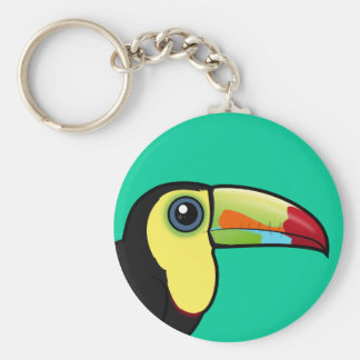 Birdorable Keel-billed Toucan Basic Round Button Key Ring