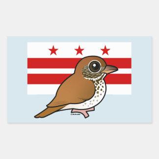 Birdorable of Washington D C Wood Thrush Rectangle Sticker