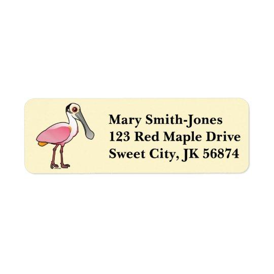 Birdorable Roseate Spoonbill Return Address Label