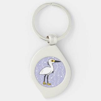 Birdorable Snowy Egret Silver-Colored Swirl Key Ring