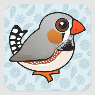 Birdorable Zebra Finch Square Sticker