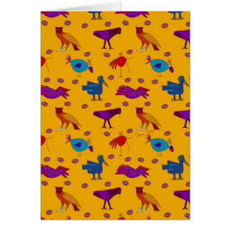 Birds - Abstract Purple Hawks & Blue Chickens Greeting Card