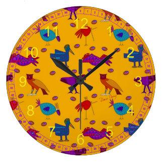 Birds - Abstract Purple Hawks & Blue Chickens Clocks