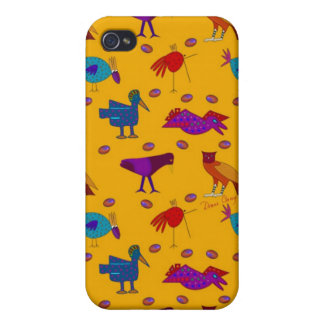 Birds - Abstract Purple Hawks & Blue Chickens iPhone 4 Cover