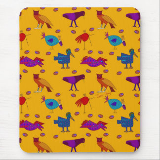 Birds - Abstract Purple Hawks Blue Chickens Mouse Pad