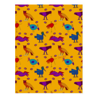 Birds - Abstract Purple Hawks & Blue Chickens Postcard