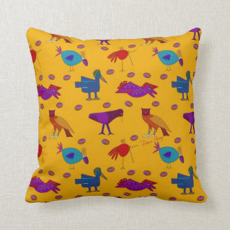 Birds - Abstract Purple Hawks & Blue Chickens Throw Cushions