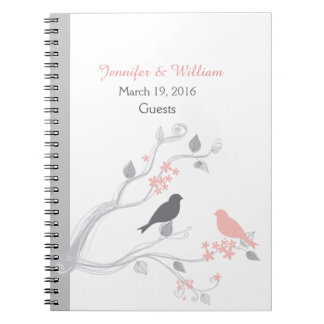 Birds and Blossoms Wedding Guest Sign In Notebook