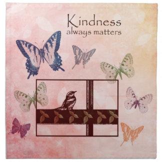 Birds and Butterflies Kindness Matters Printed Napkin