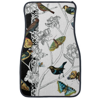 Birds and Butterfly on a Black & White Background Car Mat