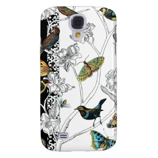 Birds and Butterfly on a Black & White Background Galaxy S4 Case