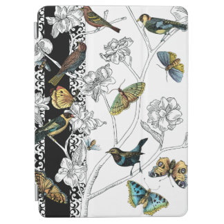 Birds and Butterfly on a Black & White Background iPad Air Cover