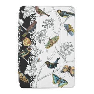 Birds and Butterfly on a Black & White Background iPad Mini Cover
