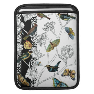 Birds and Butterfly on a Black & White Background iPad Sleeve