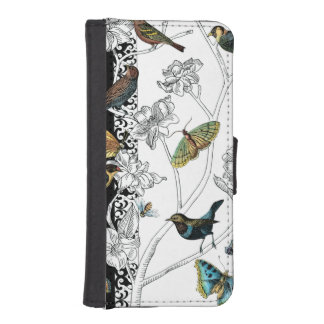 Birds and Butterfly on a Black & White Background iPhone SE/5/5s Wallet Case