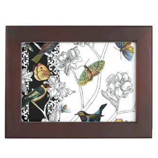 Birds and Butterfly on a Black & White Background Keepsake Box