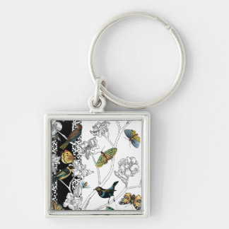 Birds and Butterfly on a Black & White Background Key Ring