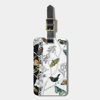 Birds and Butterfly on a Black & White Background Luggage Tag
