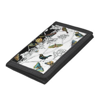 Birds and Butterfly on a Black & White Background Tri-fold Wallets