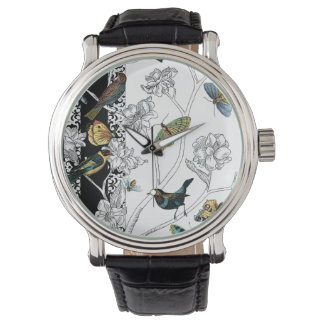 Birds and Butterfly on a Black & White Background Watch