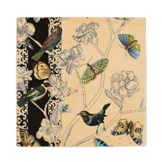 Birds and Butterfly on a Black & White Background Wood Coaster