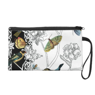 Birds and Butterfly on a Black & White Background Wristlet