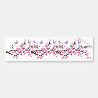 Birds and Cherry Blossoms Bumper Sticker