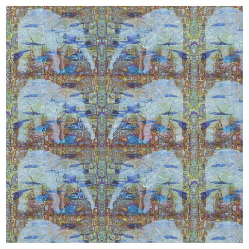 Birds and Elephants Pattern Fabric