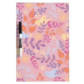 Birds and florals textured pattern dry erase board