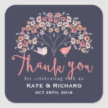 Birds and Flower Script Thank You Wedding Sticker
