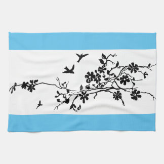 Birds and flowering branches in a 1900 illustratio tea towel