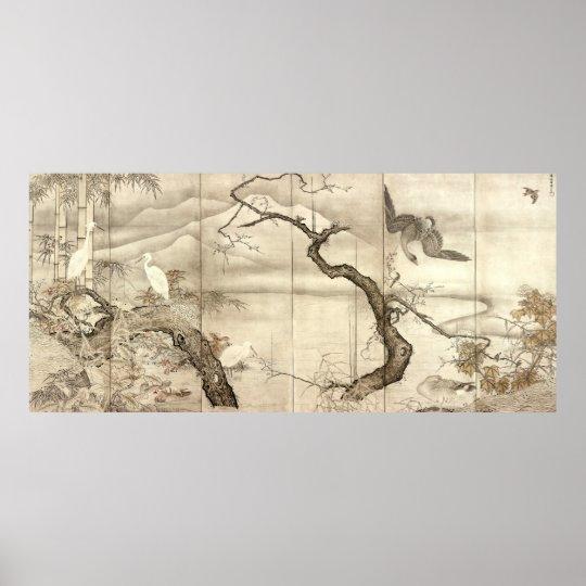 Birds and Flowers by Sesshū Tōyō Poster