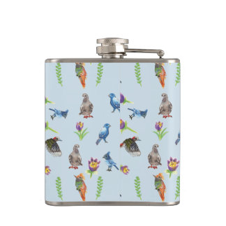 birds and flowers hip flask