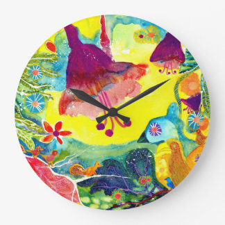 Birds and Flowers. Large Clock