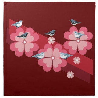 Birds and flowers printed napkin
