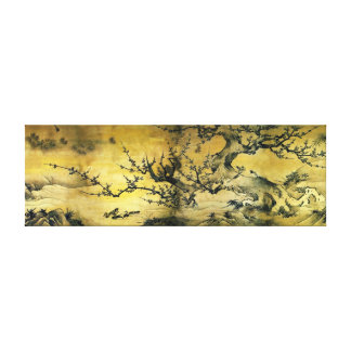 Birds and flowers of the four seasons 紙本墨画花鳥図 canvas prints