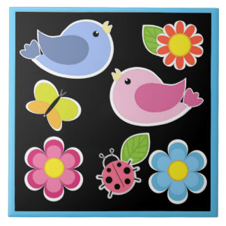 BIRDS AND FLOWERS PATTERN LARGE SQUARE TILE
