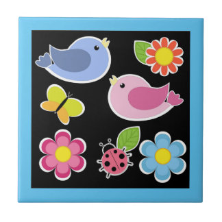 BIRDS AND FLOWERS PATTERN SMALL SQUARE TILE