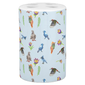 Birds and flowers soap dispenser and toothbrush holder