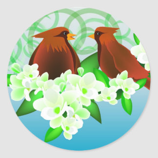 Birds and Flowers Round Stickers