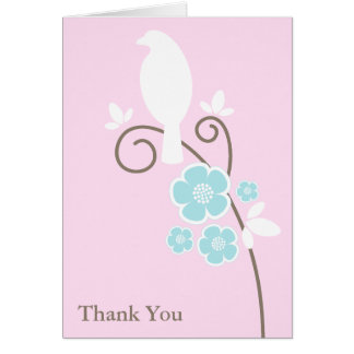Birds and Flowers Thank You Notes Greeting Card