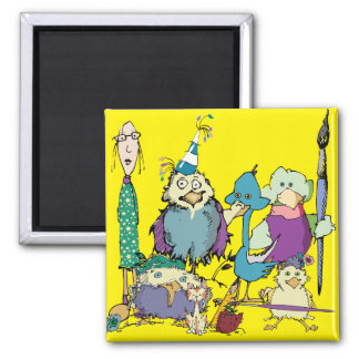 Birds and Friends Square Magnet