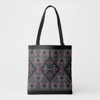 Birds and grapes black and grey kilim pattern tote bag