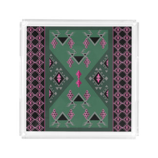 Birds and grapes green and pink kilim pattern acrylic tray