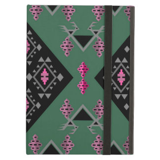 Birds and grapes green and pink kilim pattern iPad air cover
